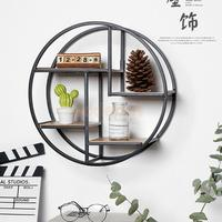 Iron Grid Wall Shelf Storage Hanging Geometric Figure Display For Wall Decoration Shelves Living Room Bedroom Floating Rack