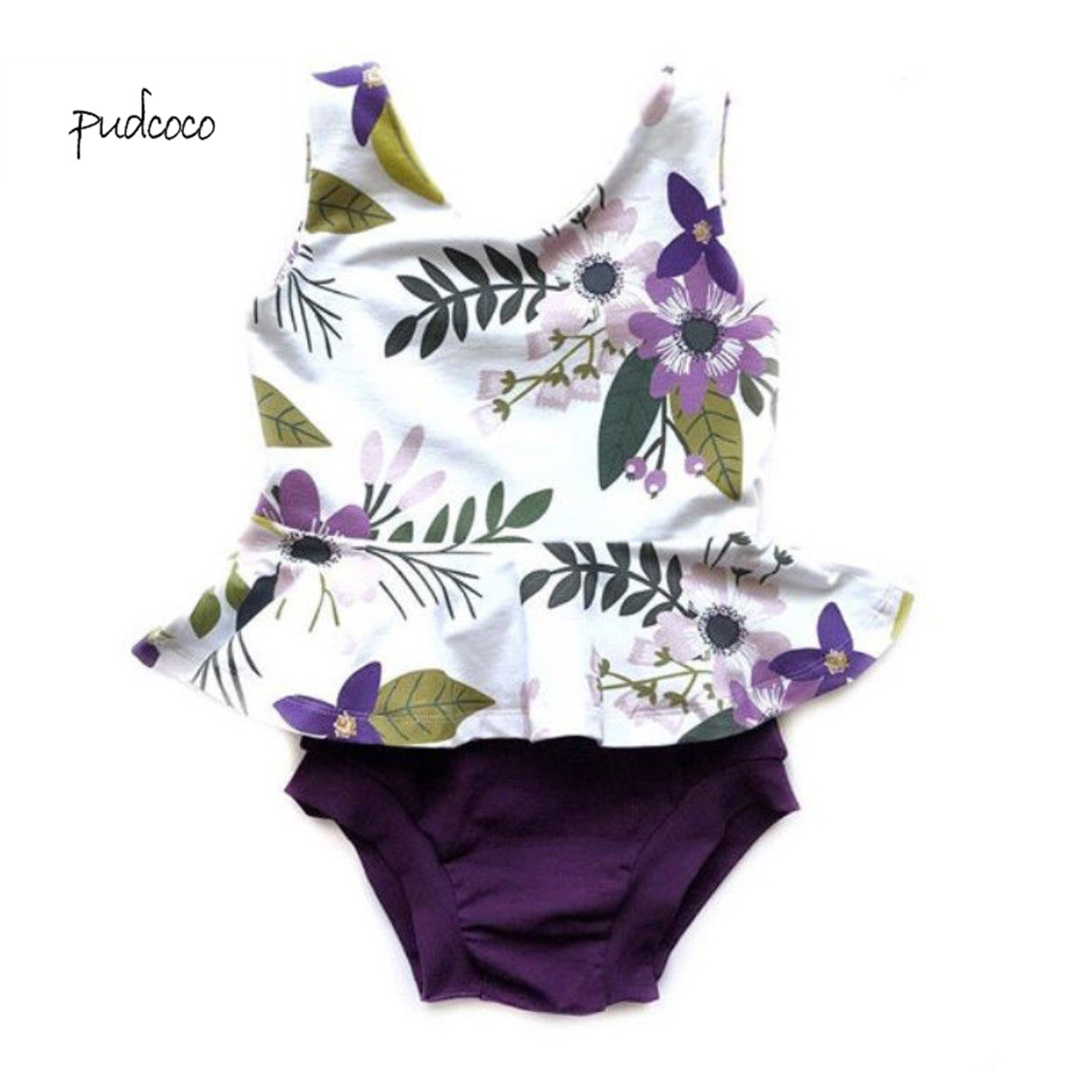 Pudcoco New Brand 2Pcs Newborn Baby Girl Floral Sleeveless Top+Shorts Set Outfit Clothes