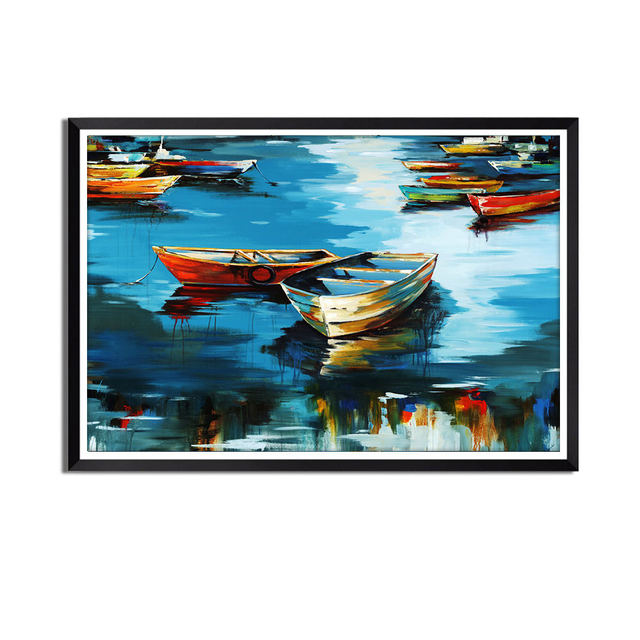 Mooring Boat Printing Oil Painting Home Decoration Art Painting Living Room Bedroom Decoration Without Frame