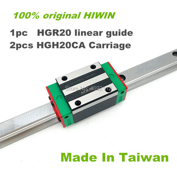 100% New Original HIWIN Linear Guide 1pc HGR20 1100 1200 1500mm Rail + 2pcs  HGH20CA Narrow Carriages for CNC Router
