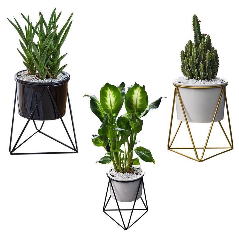Bloempot Vaas Geometrische Muur Decor Container Driehoekige Ijzeren Art Eenvoudige Succulent Groene Plant Ijzeren Frame Keramische Pot Gedistribueerd Worden Over De Hele Wereld