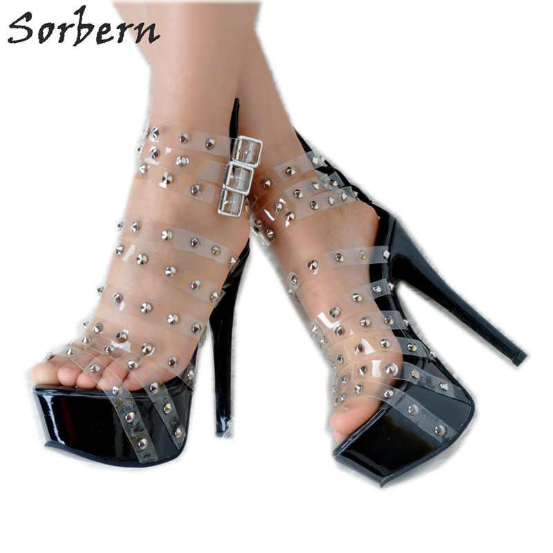 3b8b77e54bd Sorbern Women Sandals Shoes PVC Rivets Buckle Strap Plus Size Womens  Sandals Summer 2018 High Heels Sandals Women Sandalias