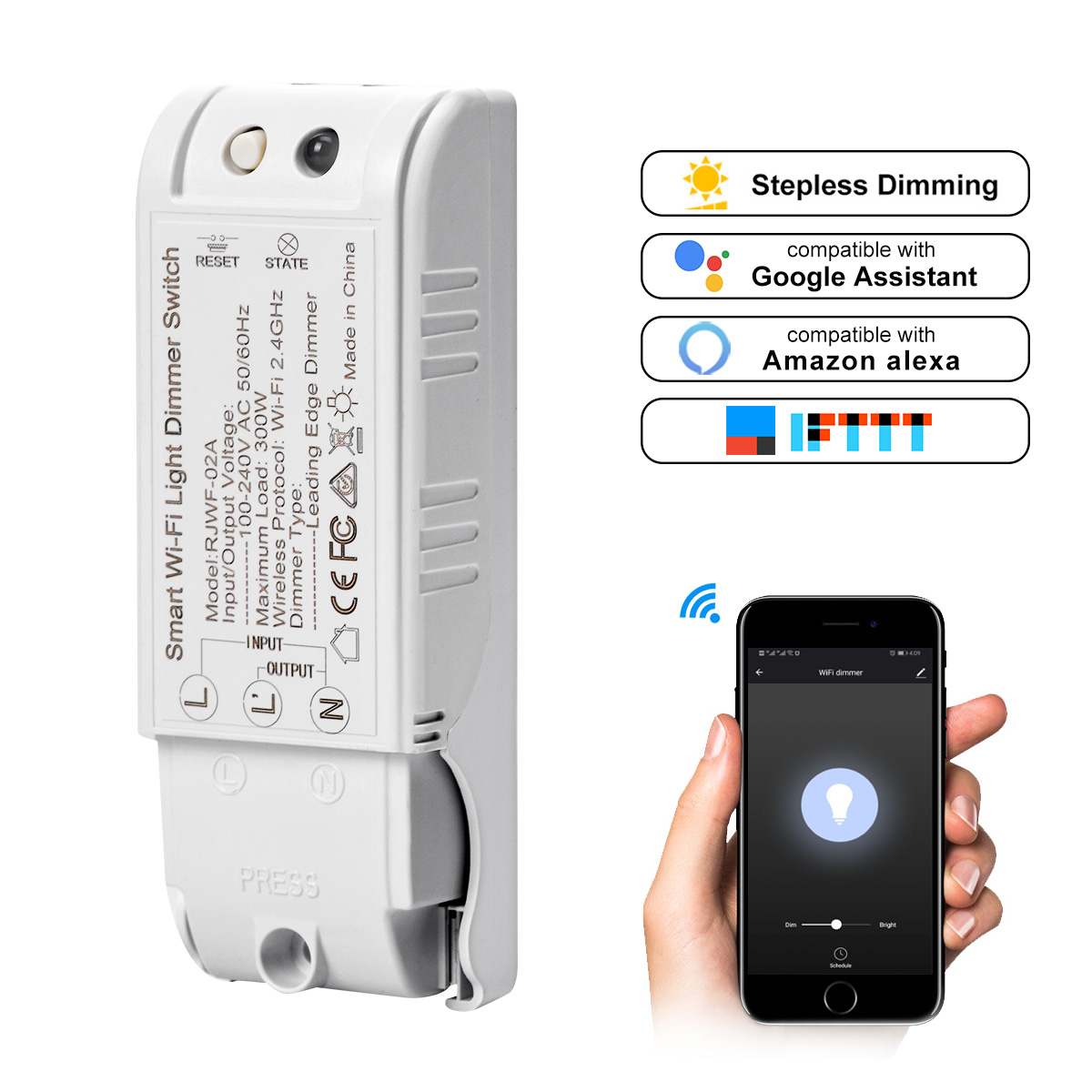 Universal Relay Smart Wifi Remote Controlled Switch Work With Alexa Google