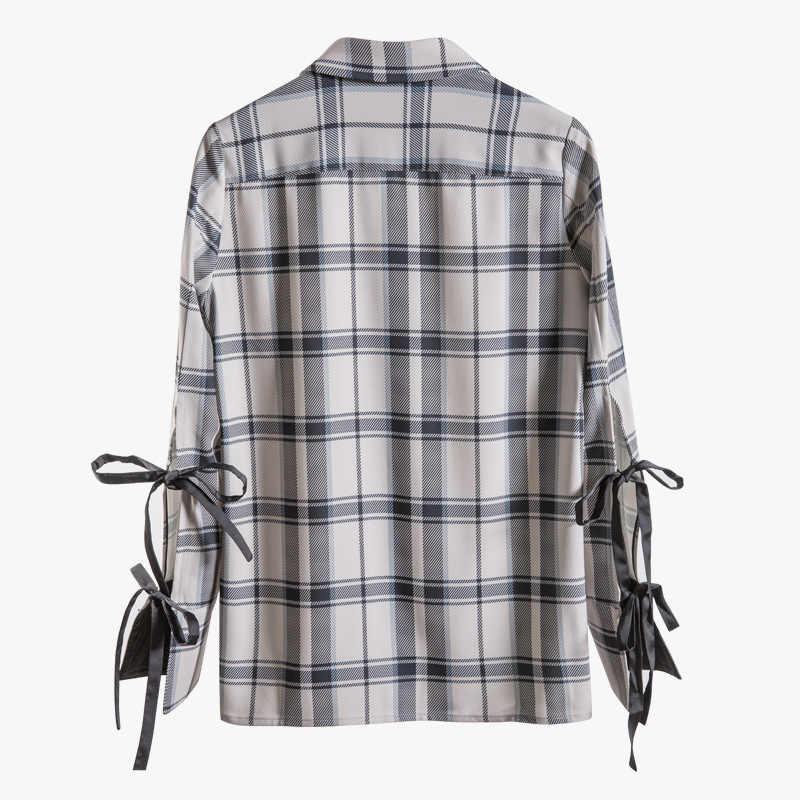 DEAT 2019 新夏のスタイルファッション女性服薄型格子縞の巾着ターンダウン襟フルスリーブシャツ女性ブラウス WG03