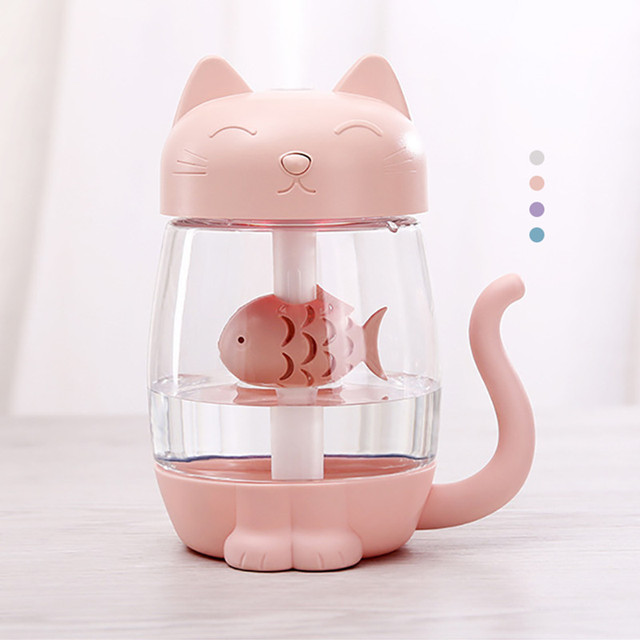 Cute Cat Air Humidifier Ultrasonic 3 In 1 Fan Aroma Essential Oil Diffuser Purifier Atomizer USB Charging LED light For Home