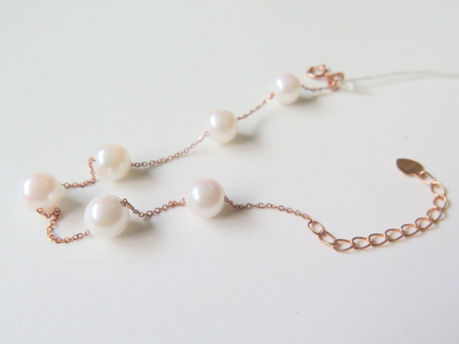 AU750 Pure 18K Rose Gold Women Perfect Pearl Beads O Link Chain BraceletAU750 Pure 18K Rose Gold Women Perfect Pearl Beads O Link Chain Bracelet