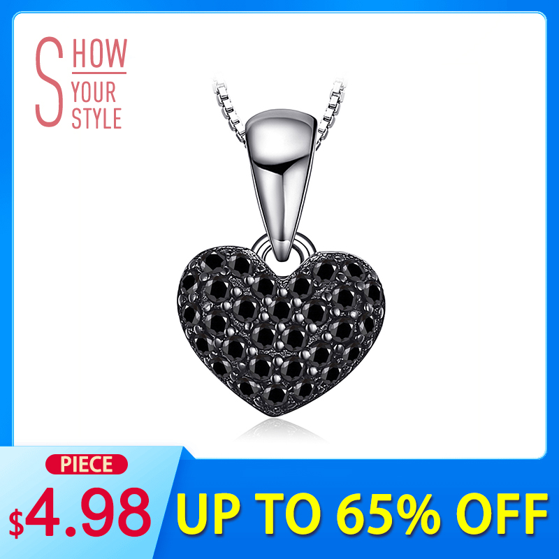 JewelryPalace Fashion Natural Black Spinel Kjærlighet Heart Pendants For Women Solid 925 Sterling Sølv Anheng Smykker Uten Kjede