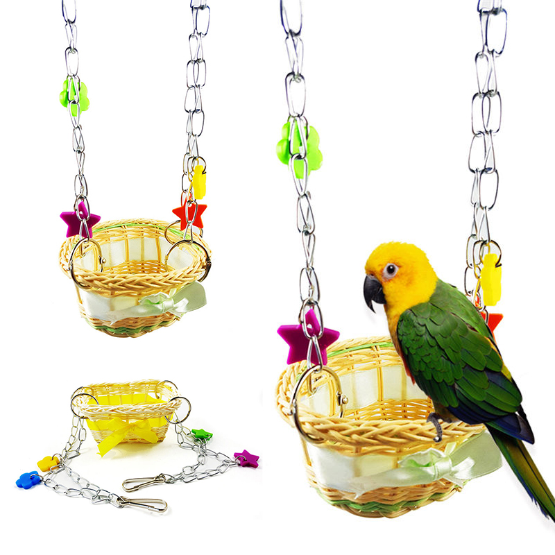 Us 3 66 20 Off Diy Pet Bird Parrot Parakeet Budgie Hanging Swing Nest Hatching Stand Hammock Toy 2 Types In Bird Toys From Home Garden On