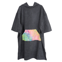 Black Surf Poncho Towel with Hood for Adult Women Men, Microfiber Beach Changing Robe for Pool Swimming Bathing Surfing Wetsuit