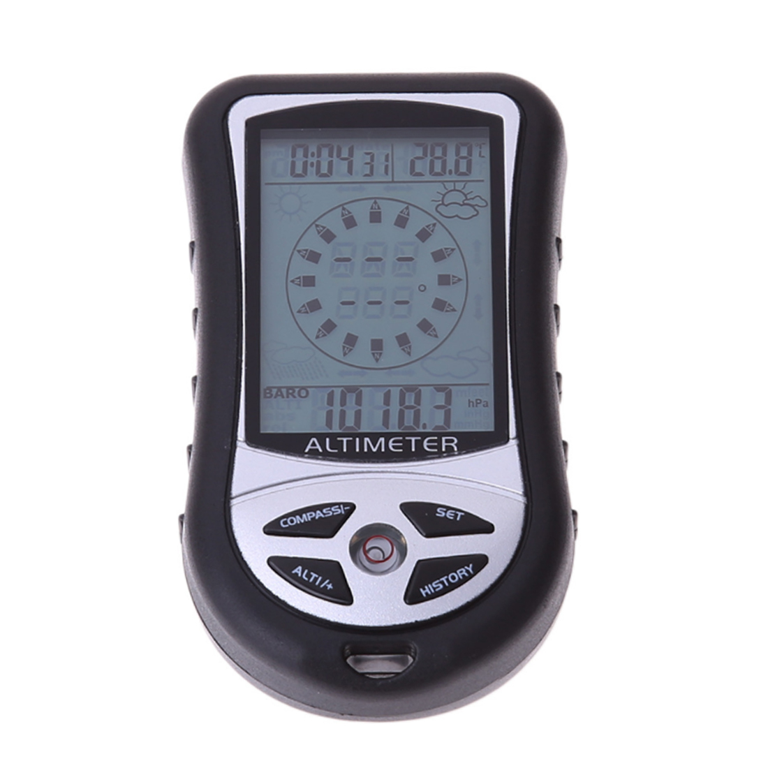 8 In 1 LCD Digital Altimeter Barometer Thermometer Weather Forecast History Clock Calendar Compass For Hiking Hunting