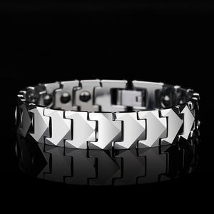 Image 3 - Tungsten Links Bracelets for Men High Polished Inlay Health Magnetic Stones Three Color, Free Shipping, Customized