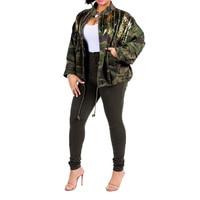2018 Winter Jacket For women Fashion Zipper Pockets Bomber Jacket 2018 Sequined Camouflage Jacket Coats Outwear Female