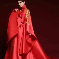 Oriental Style Red Host Gown Tailing Long Cheongsam Modern Bride Embroidery Qi Pao Women Traditional Chinese Dress Fashion Show