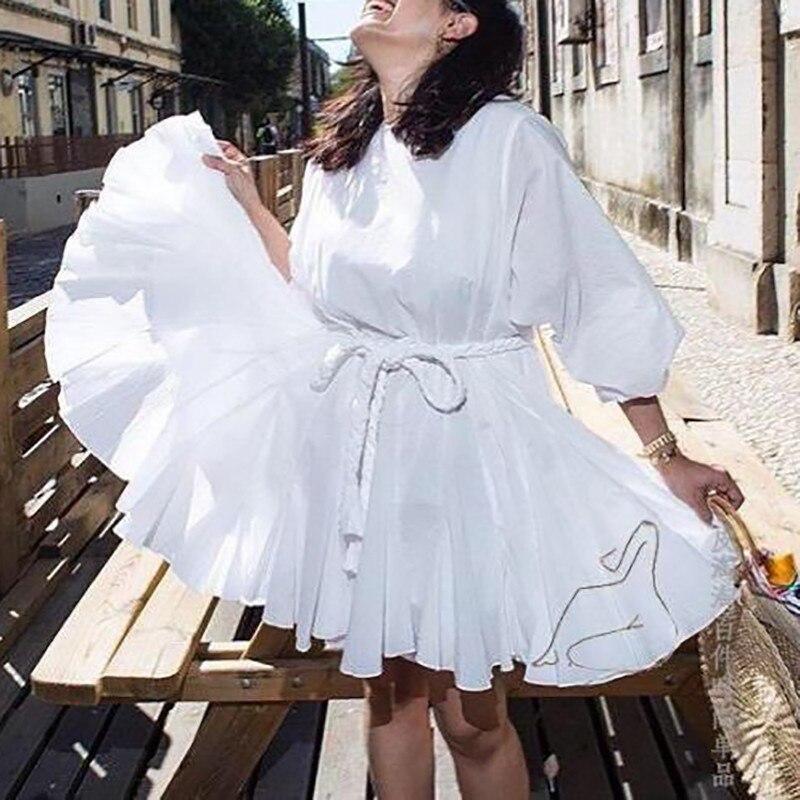 Image 5 - TWOTWINSTYLE White Dresses Women O Neck Lantern Sleeve High Waist  Bandage Mini Pleated Dresses Female 2020 Casual FashionDresses   -