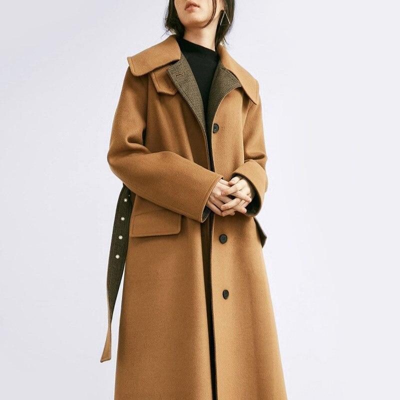 100% Vero Di Marca Classico Cappotto Di Lana Delle Donne Gira-giù Il Collare Giacca Donna Pro-lunga Giacca A Vento Outwear Tasca Di Modo Elegante Coreano Vestiti
