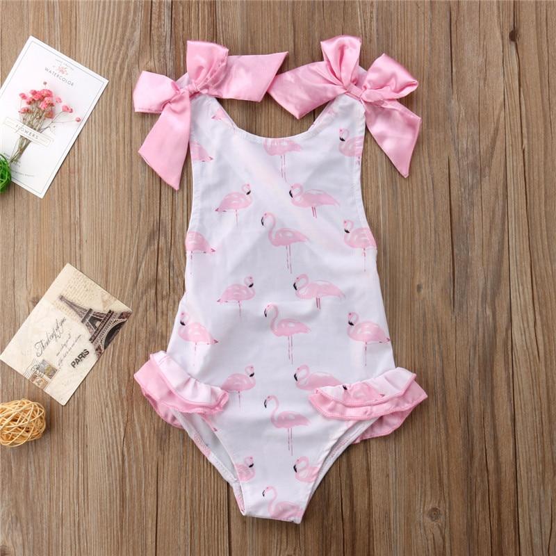 1-5T Kid Baby Girls Summer Swimwear Swimsuit Beachwear Bathing Suit One Piece Bodysuit Cute Animal Sunsuit