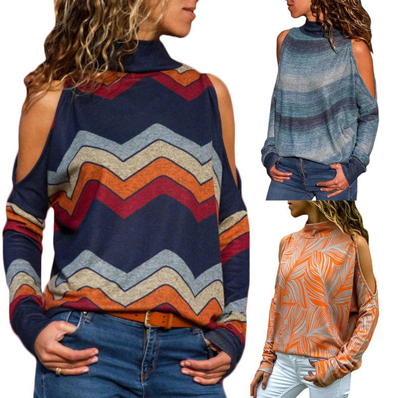 Knitted Female T- Shirt Women Autumn And Winter High-Neck Long-Sleeved Print Off-Shoulder Turtleneck Knit Tops Women