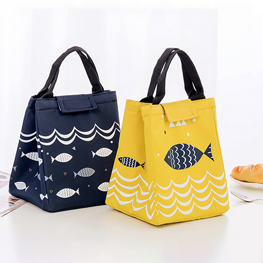 Large Capacity Lunch Bag Little Fish Pattern Tote Thermal Insulated Food Pouch Container Portable Oxford Cloth Storage Bag ~