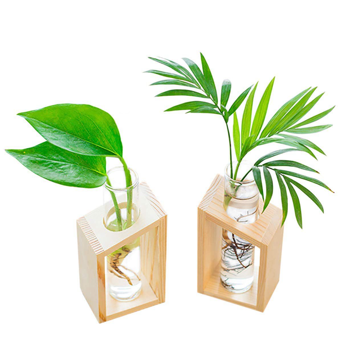 Botique-Crystal Glass Test Tube Vase in Wooden Stand Flower Pots for Hydroponic Plants Home Garden Decoration