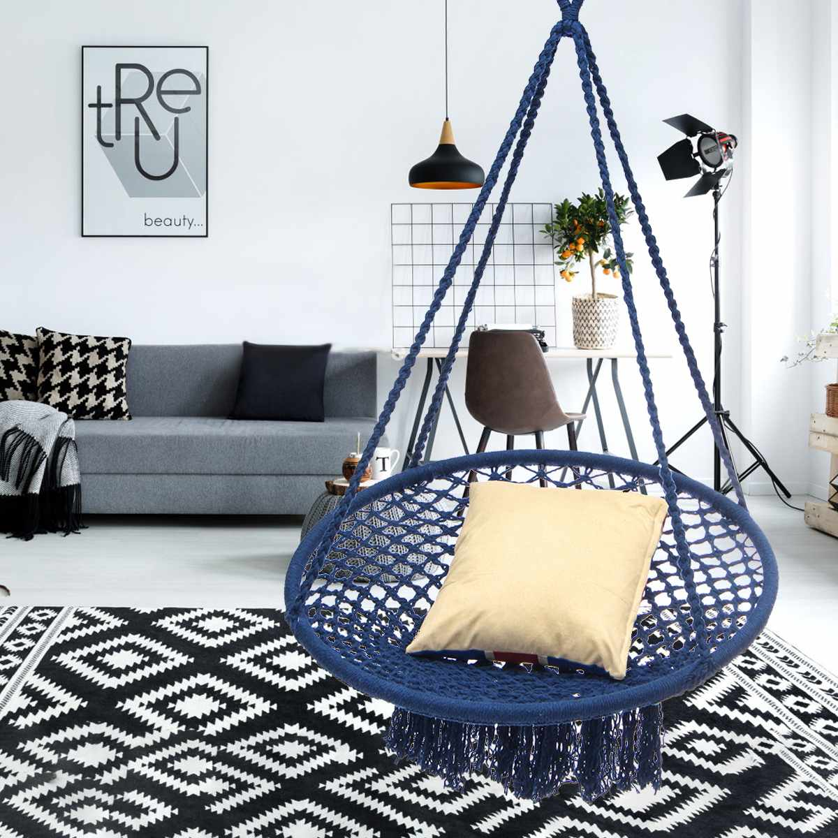 Indoor Swing Furniture Oversized Porch Round Hammock Furniture Outdoor Indoor Swing Chair Hanging For Dormitory Bedroom Blue Hammock Chair For Children Adult Pinterest Round Hammock Furniture Outdoor Indoor Swing Chair Hanging For