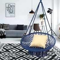 Round Hammock Furniture Outdoor Indoor Swing Chair Hanging For Dormitory Bedroom Blue Hammock Chair for Children Adult