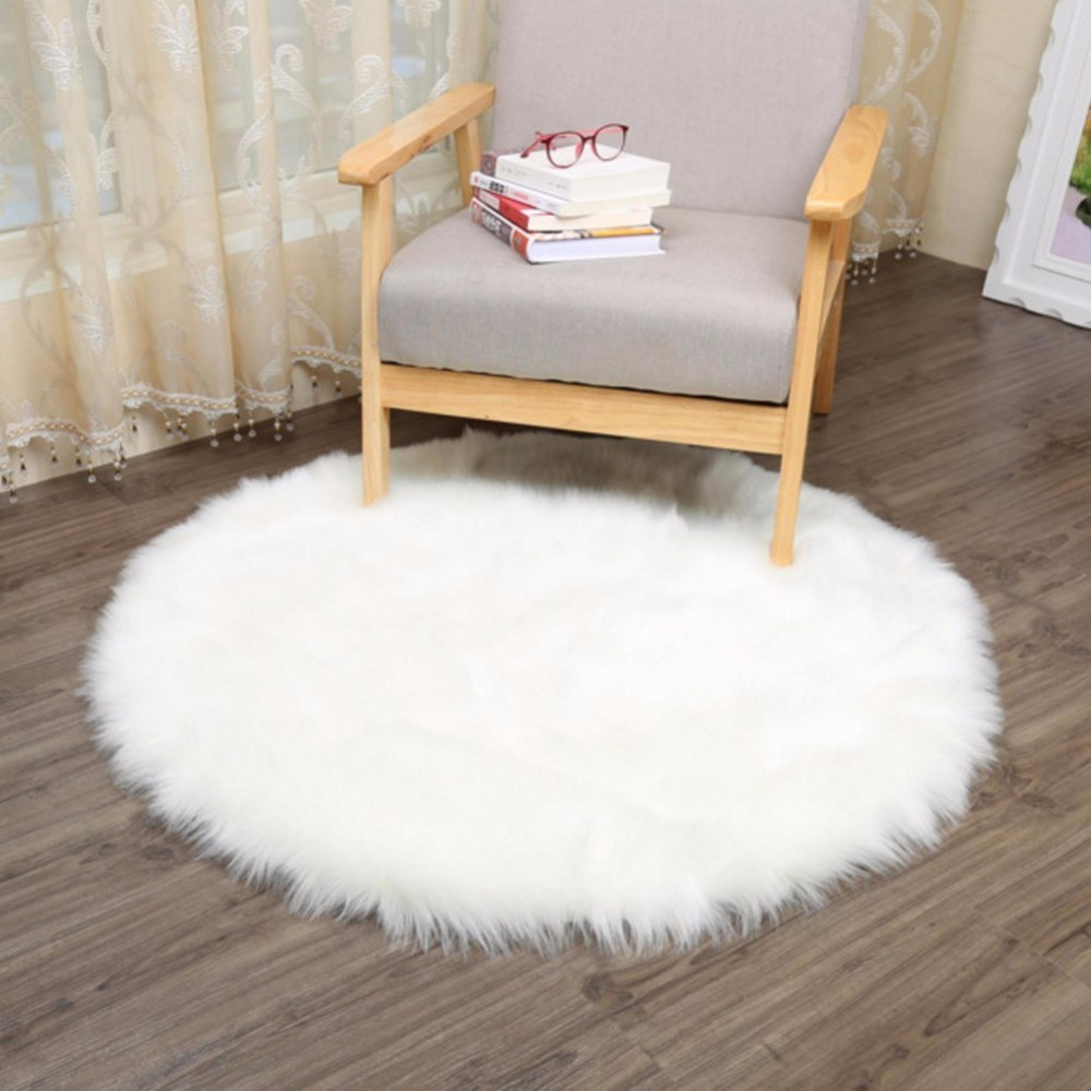 INS Wind Girl Soft Artificial Sheepskin Rug Chair Cover Bedroom Mat Artificial Wool Warm Hairy Carpet Seat Textil Fur Area Rugs