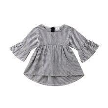 Pudcoco/расклешенные рукава в полоску для новорожденных девочек, топы на молнии с круглым вырезом, футболки, одежда для детей от 0 до 18 месяцев