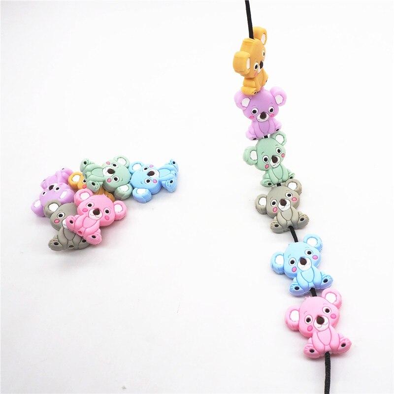 Купить с кэшбэком Chenkai 6PCS Silicone Koala Teether Beads DIY Baby Animal Cartoon Chewing Pacifier Dummy Sensory Jewelry Toy Making Koala Bead