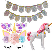 Unicorn Birthday Party Decoration Supplies 3D Large Walking Animal Foil Balloons Unicorn Paper Flowers Girl Party Theme Favors