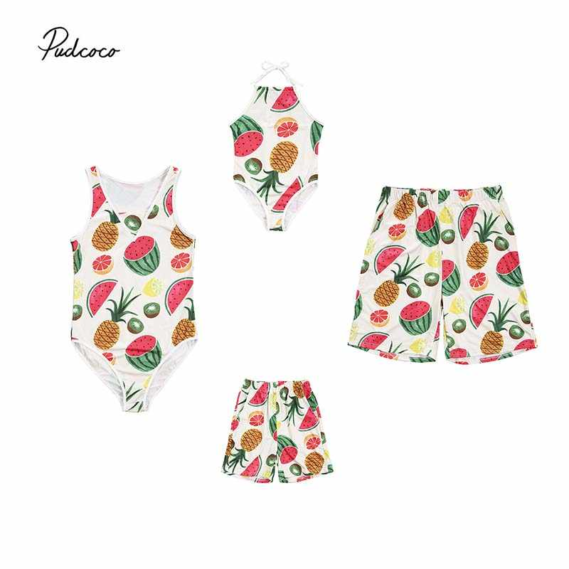 e9a7f3300e36 2019 Summer Brand Family Matching Swimsuit Mother Father Girls Boys One Pcs  Swimwear Fruit Pineapple Bathing
