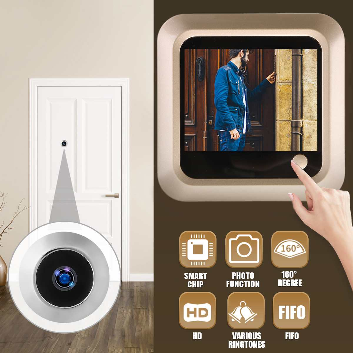 Digital LCD 2.4inch Video Doorbell Peephole Viewer Door Eye Monitoring Camera 160 Degree Smart Camera DoorbellDigital LCD 2.4inch Video Doorbell Peephole Viewer Door Eye Monitoring Camera 160 Degree Smart Camera Doorbell