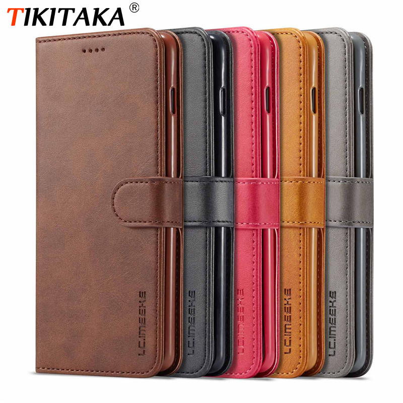 Vintage <font><b>Leather</b></font> Wallet <font><b>Flip</b></font> Book <font><b>Cases</b></font> For <font><b>Samsung</b></font> Galaxy S10 Plus S10e S8 S9 Note 8 9 Plain <font><b>Leather</b></font> Phone Back Cover Gift image