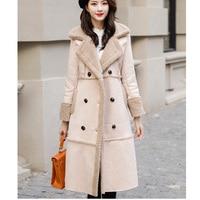 woman coats winter Wool coat long over knee cotton suit thickened warm deer leather velvet coat
