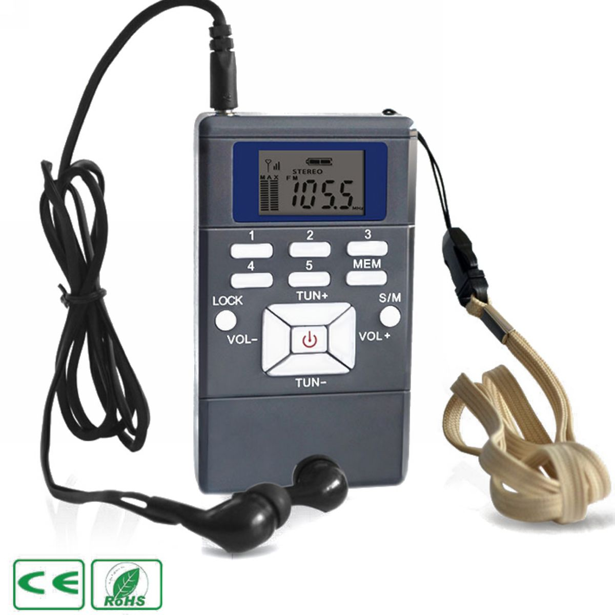 60-108MHz Portable Handheld Digital FM Radio Gray Plastic Shell FM Radio Receiver Battery Powered with Earphone