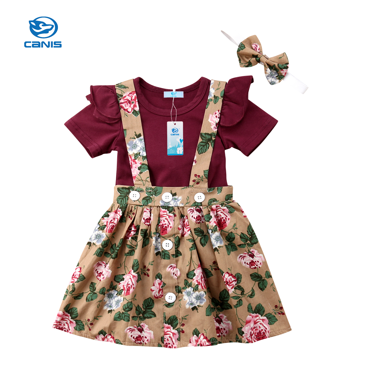 2018 Summer New Fashion Cute Sweet 3PCS Newborn Baby Girl Short Fly Sleeve Romper Floral Belt Dress Outfit