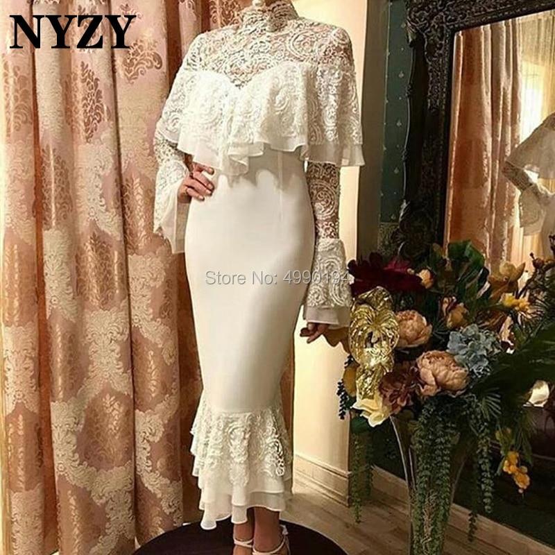 NYZY C104 Modest High Neck Long Sleeve Arabic Muslim Evening Dress Dubai Cocktail Dress Robe Soiree Vestido Coctel 2019