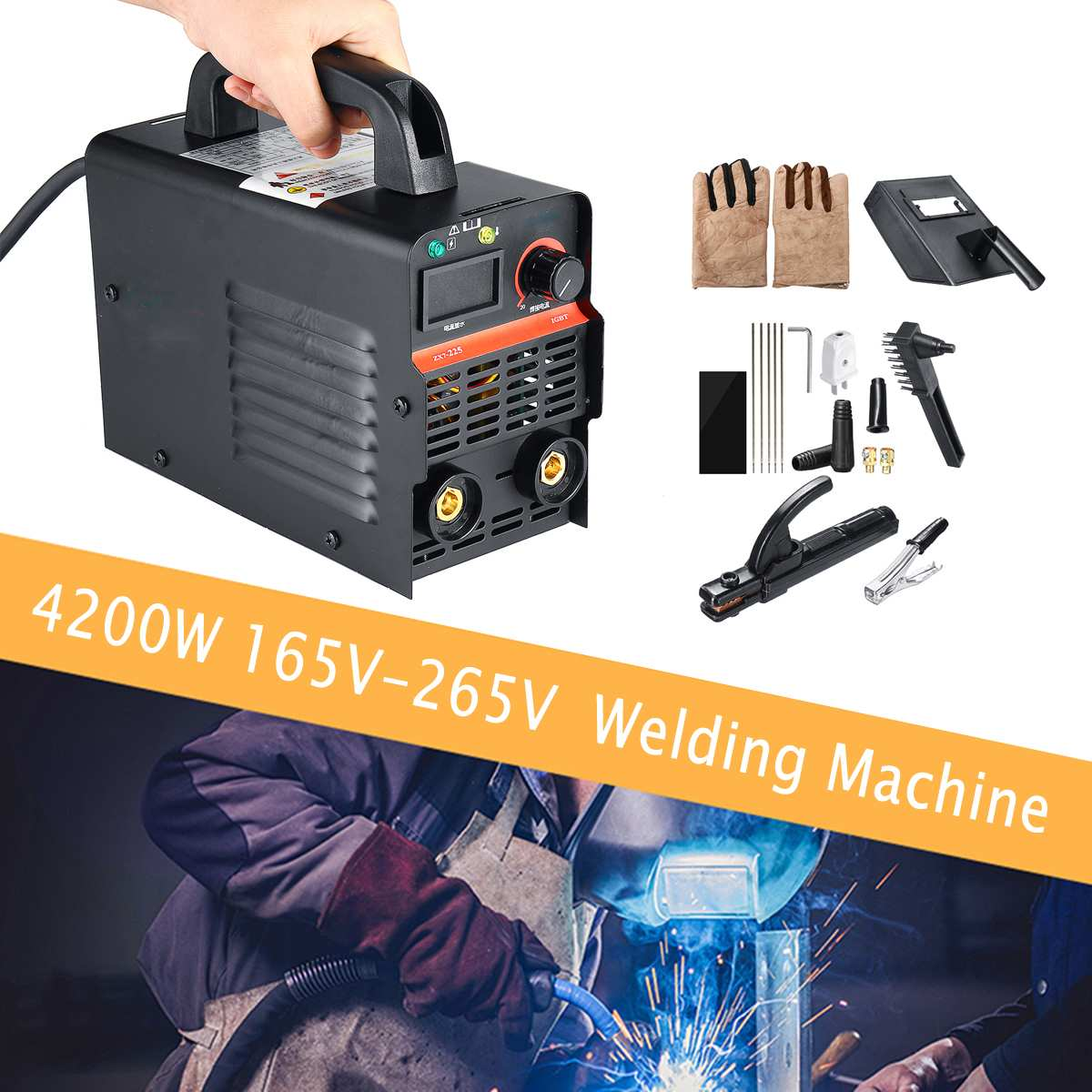 165-265V 20A-225A 4200W Mini Fully Automatic Copper Inverter Arc Electric Welding Machine MMA Welders for Home Welding Working165-265V 20A-225A 4200W Mini Fully Automatic Copper Inverter Arc Electric Welding Machine MMA Welders for Home Welding Working