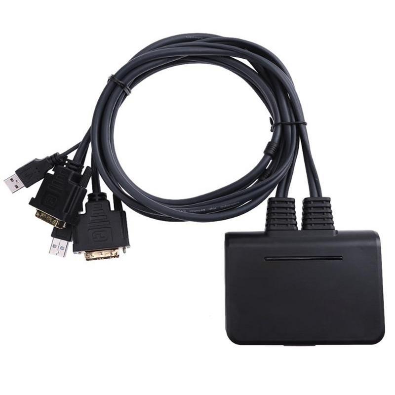 2 ports USB 2.0 KVM DVI commutateurs adaptateur avec câbles Audio et vidéo pour souris et clavier Support vidéo Windows/Linux/Apple/Mac