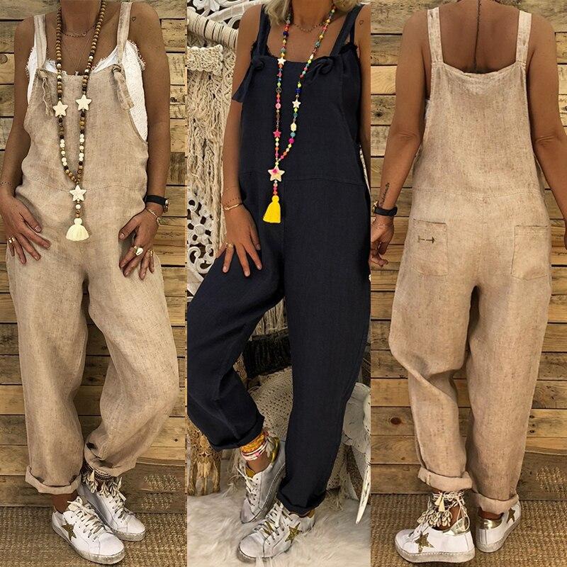 2018 ZANZEA Ladies Linen Overalls Vintage Casual   Jumpsuits   Women Playsuit Female Solid Pants Backless Streetwear Pantalon Romper
