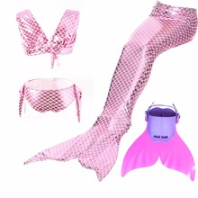 Swimming Mermaid Tail Costume With Monofin Flipper Bikini Girls Children Swimmable Cosplay Dress