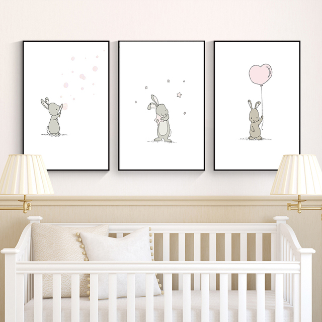 Bunny Nursery Art Canvas Painting Nordic Posters And Prints Cute Cartoon Animal Wall Pictures For Baby S Bedroom Decoration