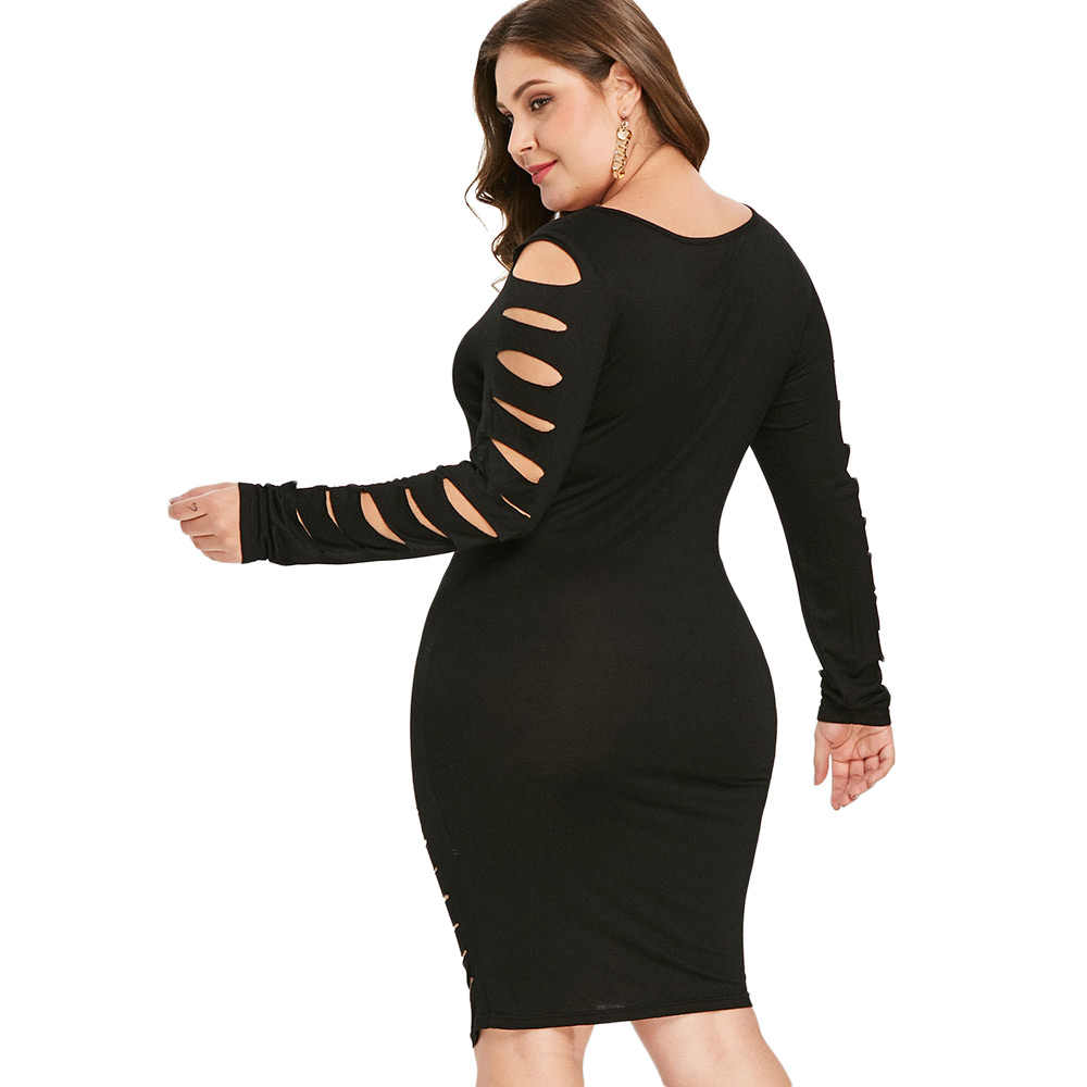 ... Wipalo Plus Size Dress Female Autumn Ladder Cut Out Sleeve Ripped Sexy  Dresses Solid Square Neck ... 080ee3daea16