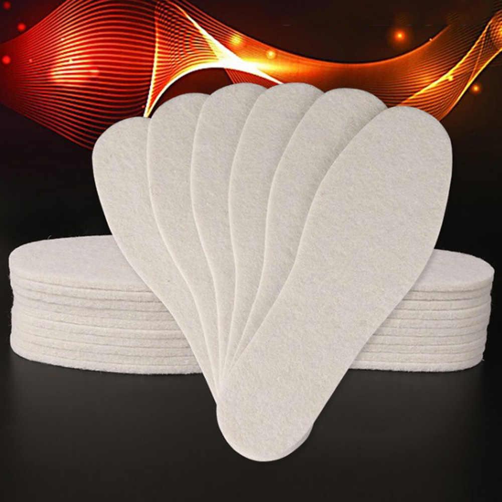 1 par de plantillas de lana de invierno grueso suave que absorbe el sudor caliente felpa transpirable sólido se puede cortar almohadillas de algodón Unisex