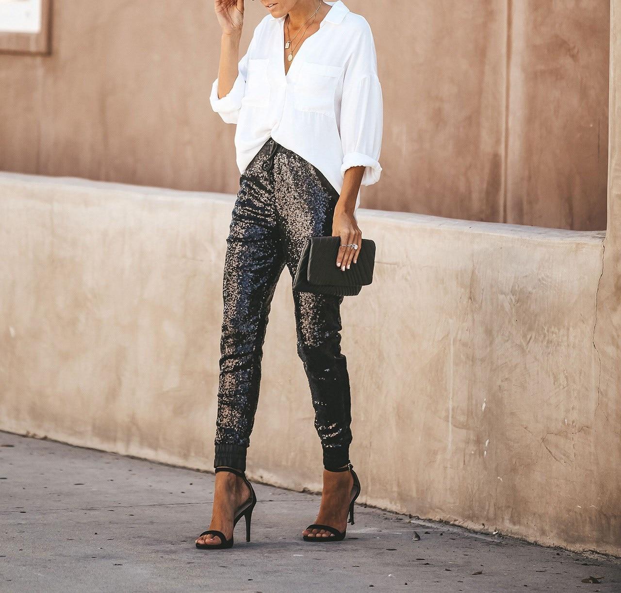 2019 Women High Waist Skinny   Pant   Sequins Glitter Leggings Joggings Trousers Clubwear