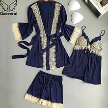 Queenral 3pcs Women's Bathrobe+Pajamas Sets For Female Sleep