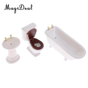 Image 2 - 3Pcs/Set 1/12 Skala Modernen Weißen Keramik Bad Badewanne Wc Set für Puppenhaus Miniatur Möbel Acc Dekoration