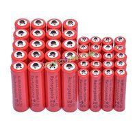 2/10/20/32/50pcs AA 3000mAh + AAA 1800mAh 1.2V NiMH Red Color Rechargeable Battery Cell 2A 3A RC Toys led flashligh