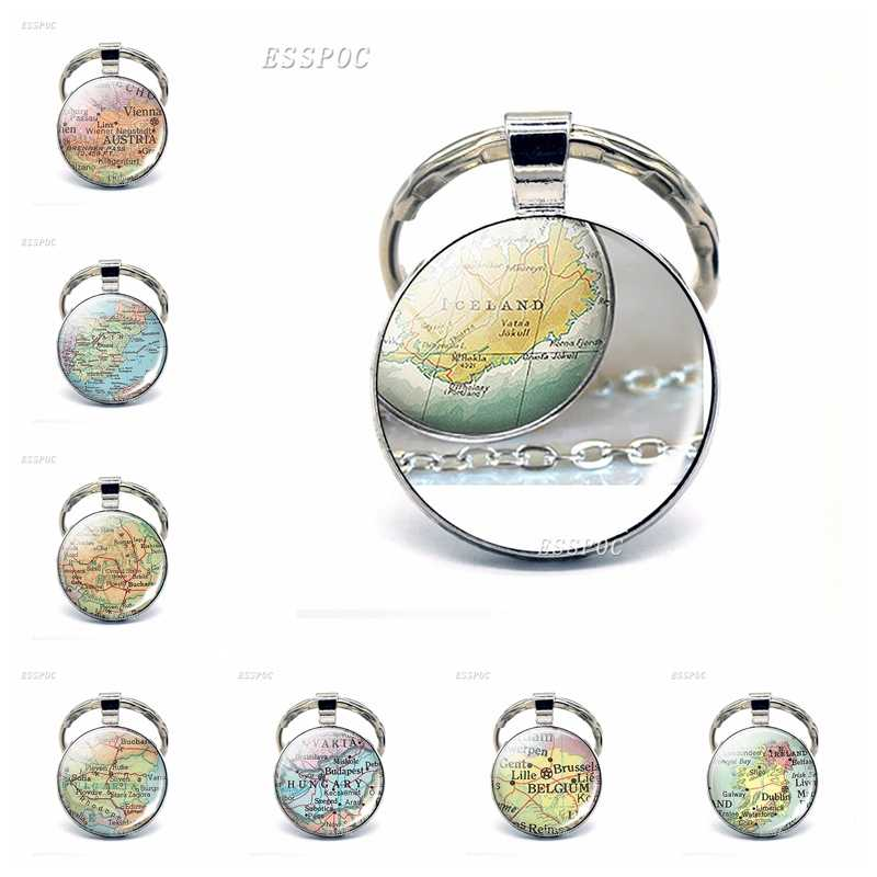 אירופה מדינות מפת זכוכית תליון Keychain איטליה צרפת סקוטלנד פולין אופנה מזכרות Keyring תכשיטי מתנה עבור נשים גברים