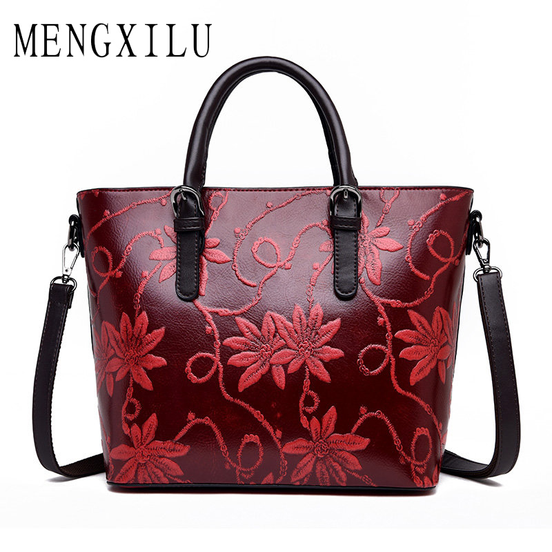 225416bc95b5 Embroidery Embossing Women Shoulder Bag High Quality Handbags Women Leather  Luxury Crossbody Bags Designer Vintage Chinese