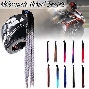 Motorcycle Gradient Ramp Helmet Sucker Removable Braid Pigtail Ponytail Straight Hair Mix Color Dirt Bike Ski Street(China)